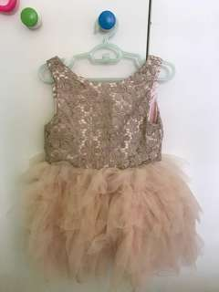 Girls Mesh Dress in Dusty Pink and Gold