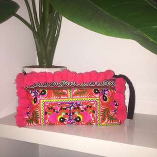 Colourful embroidered clutch/purse