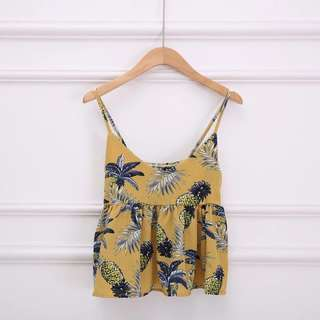 Po: yellow pineapple baby doll camisole