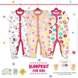 📮FREE Mailing • 3pcs Baby Footed Sleepsuits with Integrated mittens newborn sleepsuits onesie romper Boy girl •