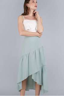 The Tinsel Rack Yule Tiered Skirt in Sage Green Size S (BNIB)