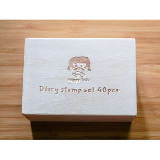 Happy Day Diary Stamp Set (40 pcs) - Wooden Rubber Stamps - Korean Stamps
