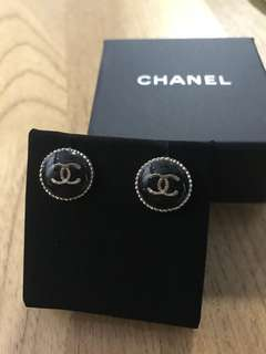 Classic Black Chanel Earrings (Authentic)