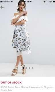 asos scuba prom skirt with asymmetric organza trim in print