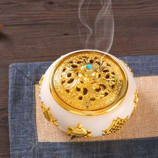 White Incense Burner + Wooden Base