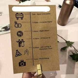 Wedding decor Card menu timeline wedding art