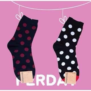 韓國可愛點點風中筒襪
