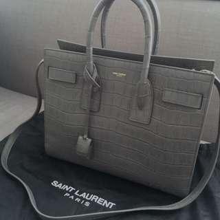Rare YSL Saint Laurent Sac De Jour Croc Embossed Bag
