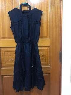 優雅深藍條紋洋裝