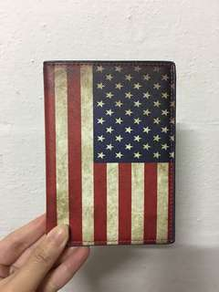 USA Flag Leather Passport Cover