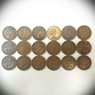 英女皇頭香港伍毫硬幣共18個
