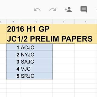 2016 H1 GP JC PRELIM PAPERS