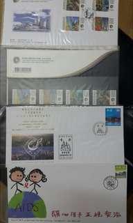 Hong kong post stamp 香港郵政郵票套摺首日封1997世界銀行年會關心孩子關心愛滋1997中華民國郵展共4個