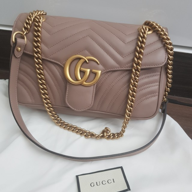 490c497df9faa7 Auth Gucci marmont matelasse shoulder bag (dusty pink), Luxury, Bags ...