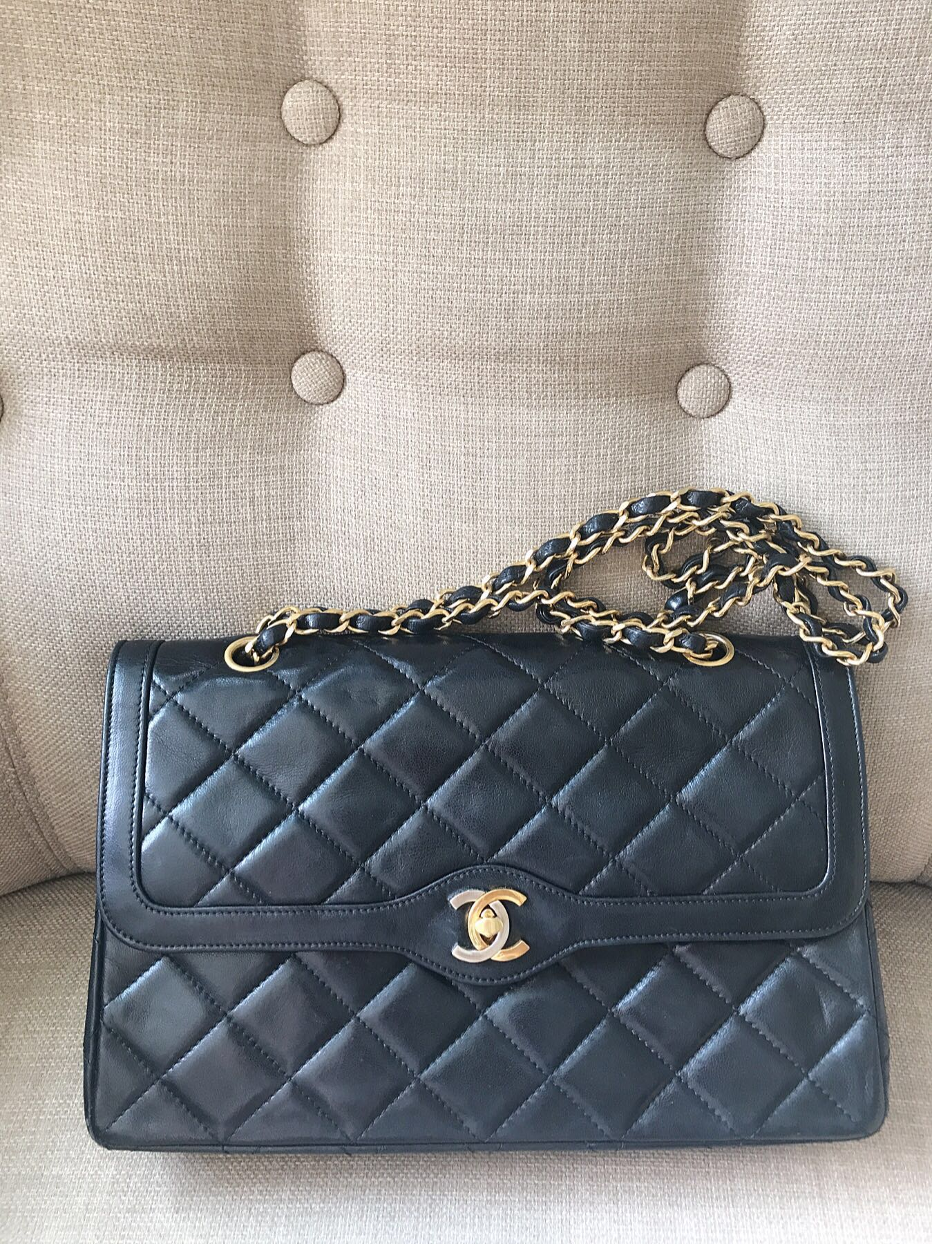 b23a12b56cd4 Chanel Black Quilted Lambskin Vintage Medium Double Sided Classic Flap Bag.  photo photo .