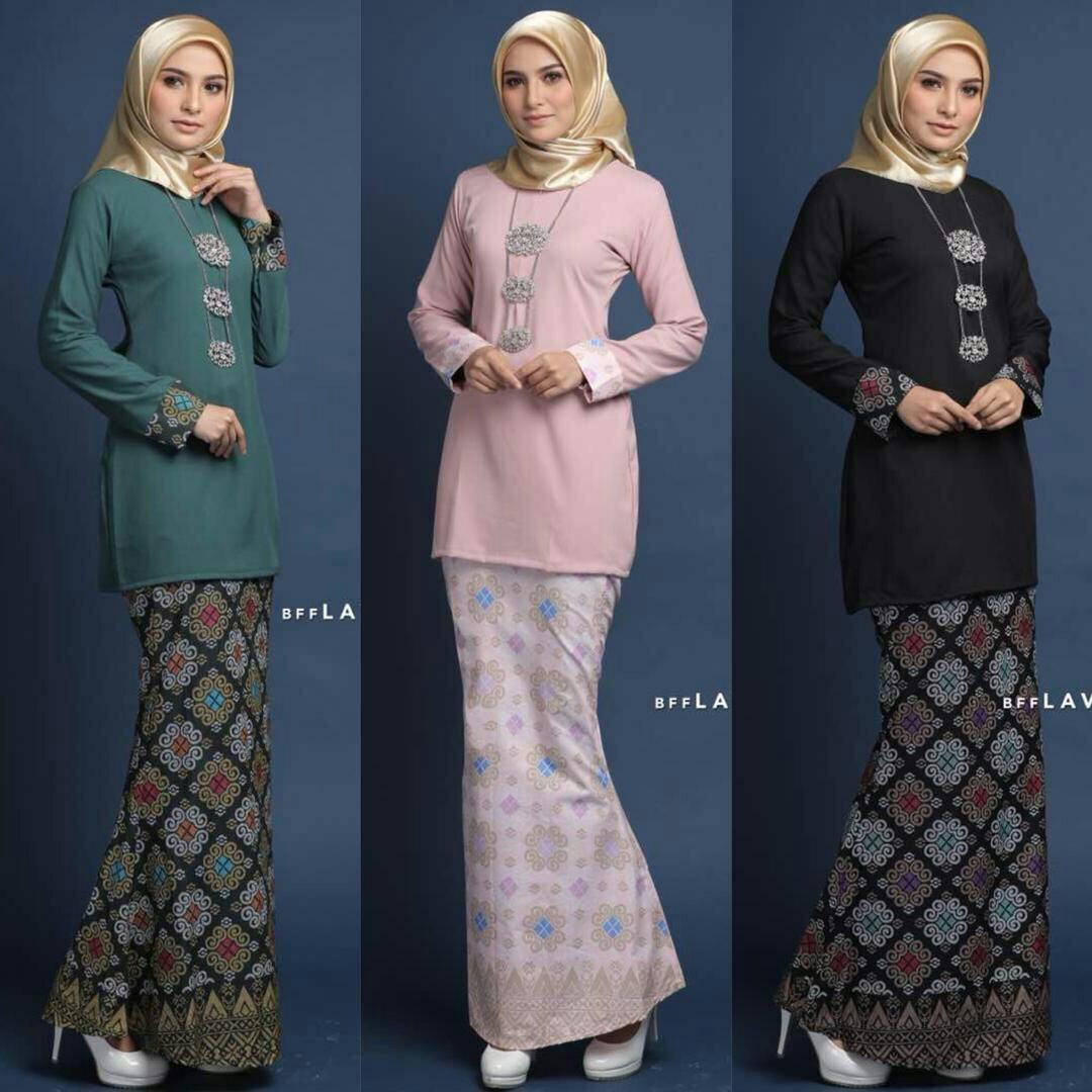 Baju Kebaya Bawahan Batik: Baju Kurung Batik, Fesyen Muslimah, Two-piece Di Carousell