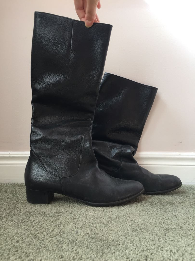 Black leather knee high boots women's