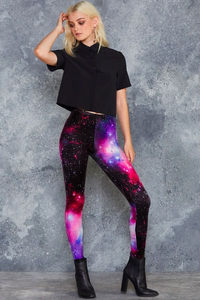 Black Milk Clothing Purple Galaxy Leggings - size medium