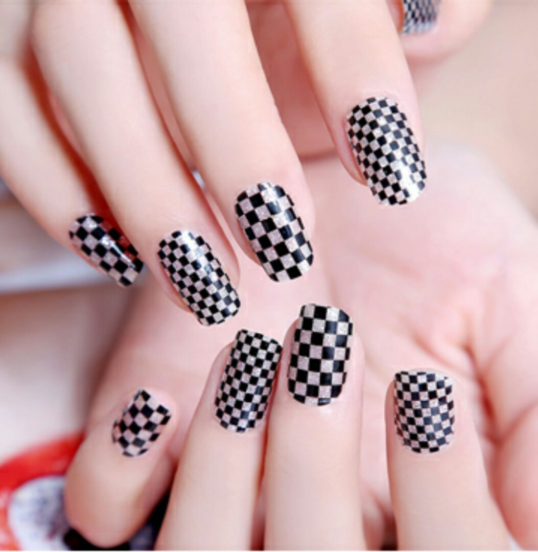Checkered Glittery Nail Art Stickers Nail Wrap Foil, Health & Beauty ...