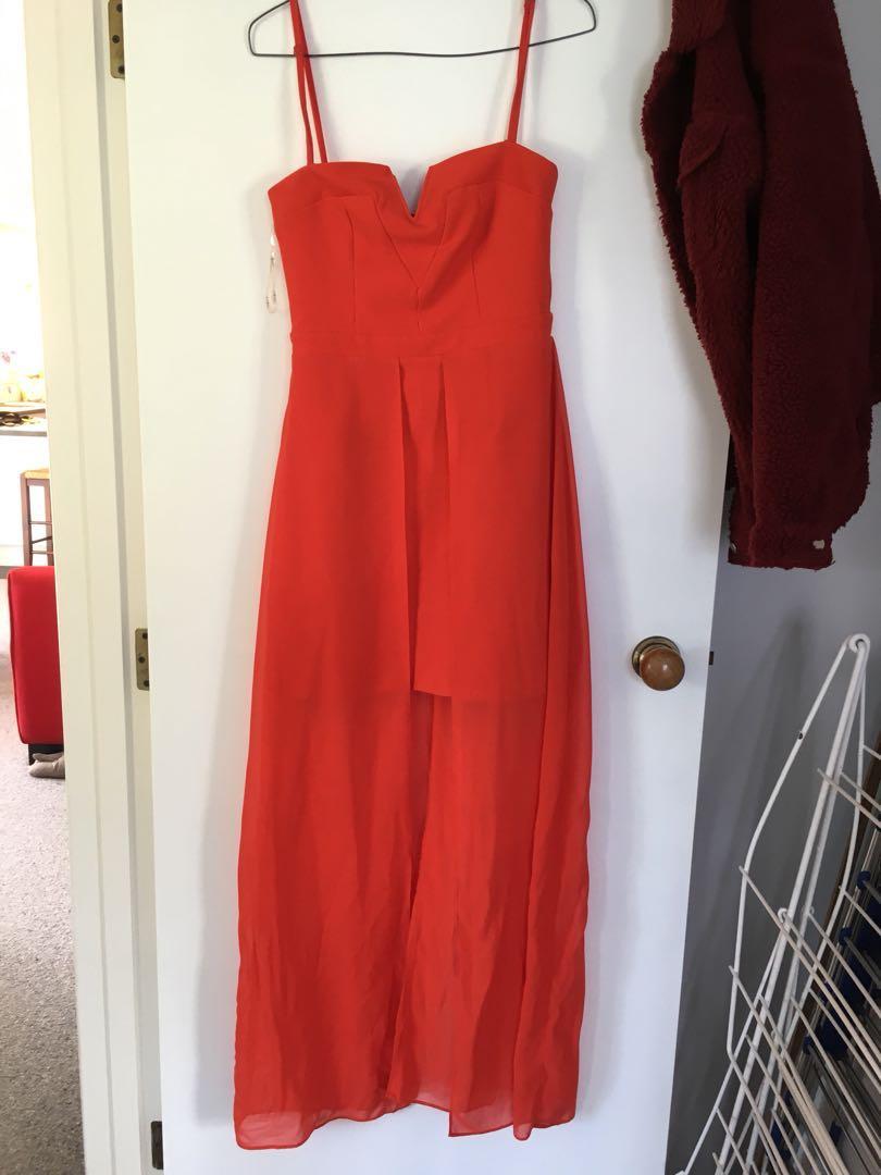 Deep orange ball dress