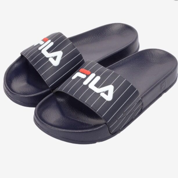 6f8b32b8a FILA Black   White Striped Unisex Drifter Slides On Casual Slippers ...