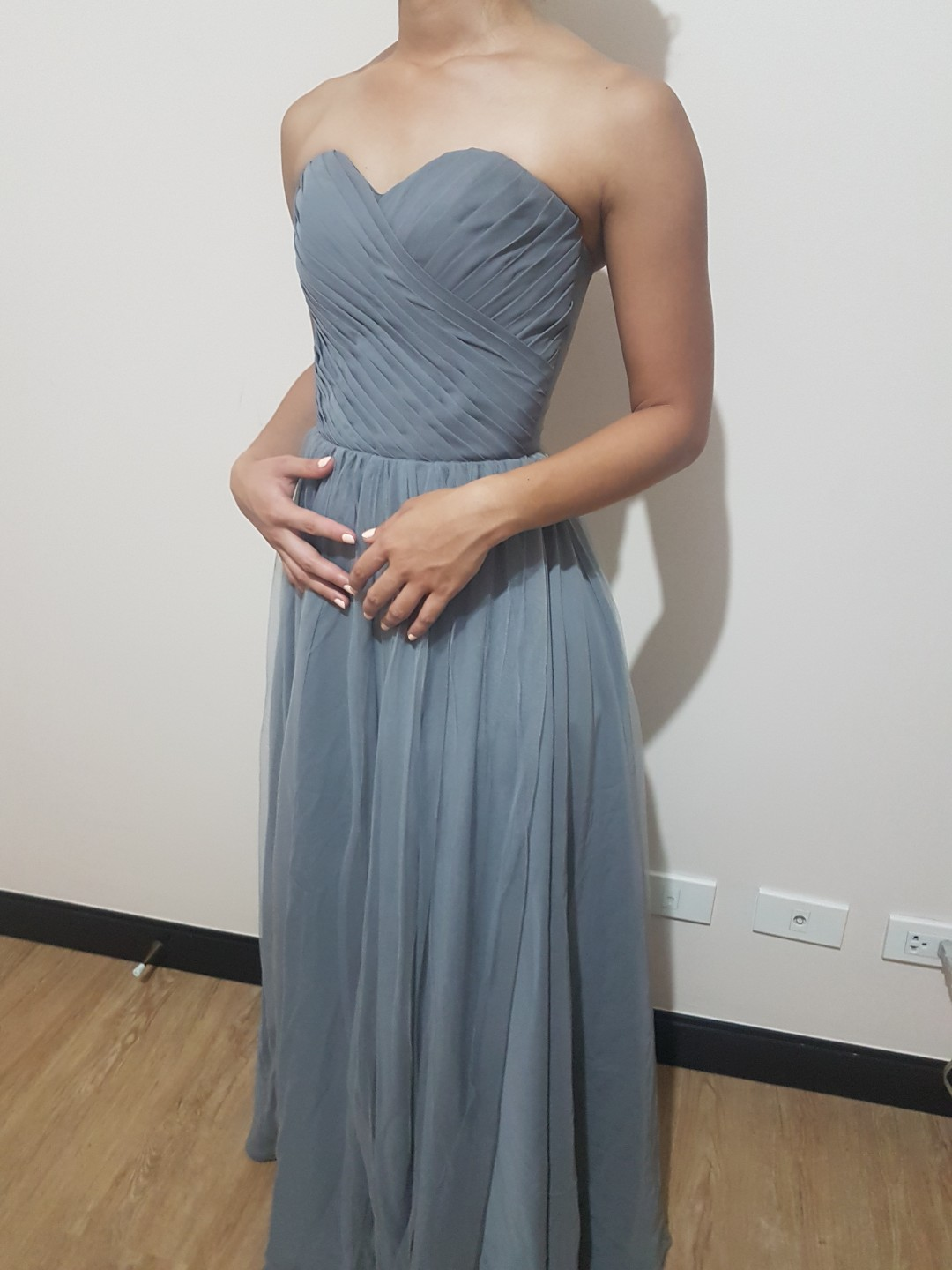 Gray Pleated Gown, Women\'s Fashion, Clothes on Carousell