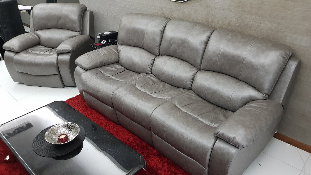 Leather Silver Grey Sofa Set With Electronic Recliners Furniture
