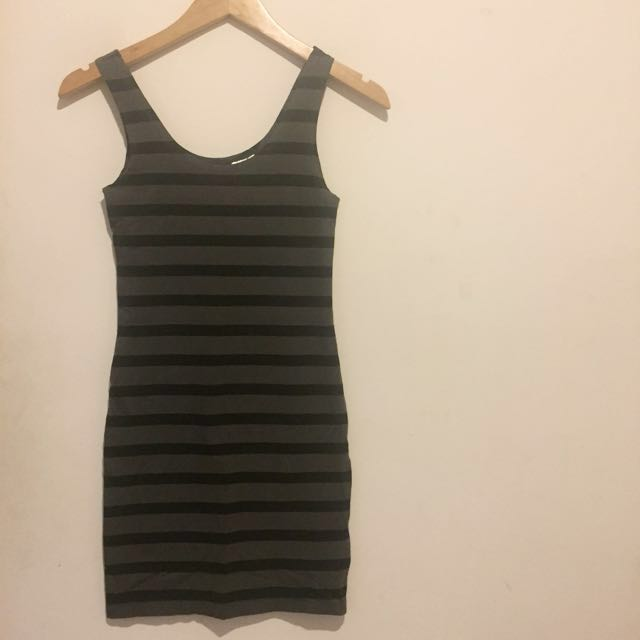 H&M Grey and Black Stripped Dress
