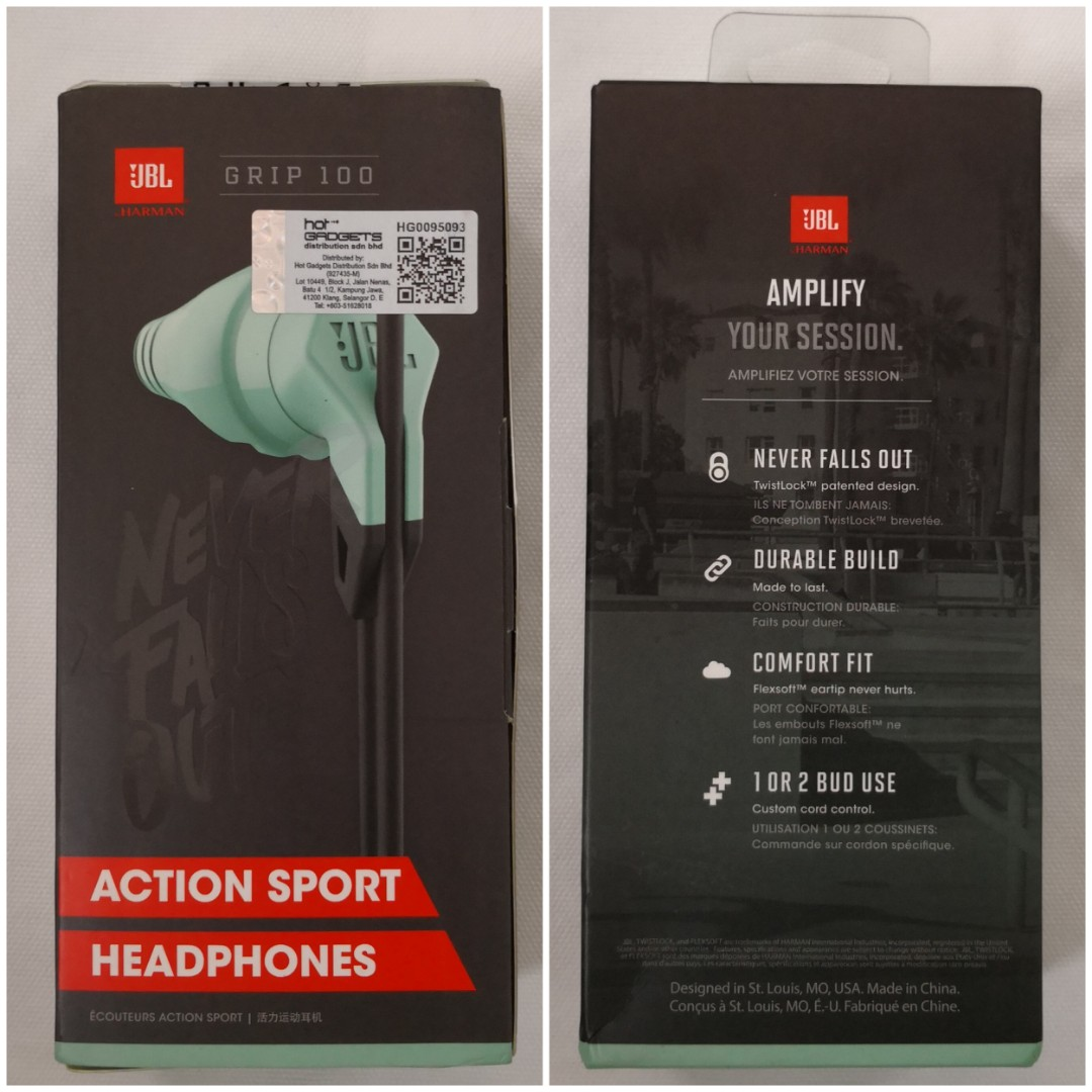 d7e983bff3f JBL Grip 100 Action Sport Headphones, Electronics, Audio on Carousell