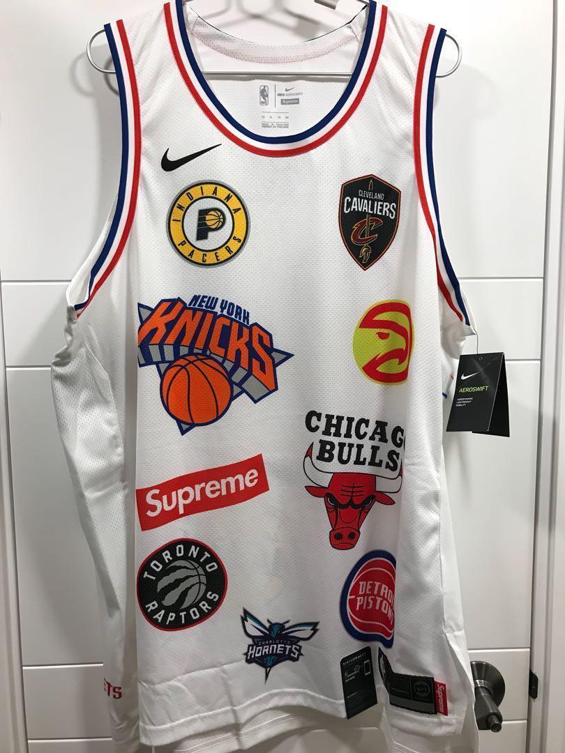 全新nike x supreme nba white authentic jersey白色size 52 XL ee1224f6e