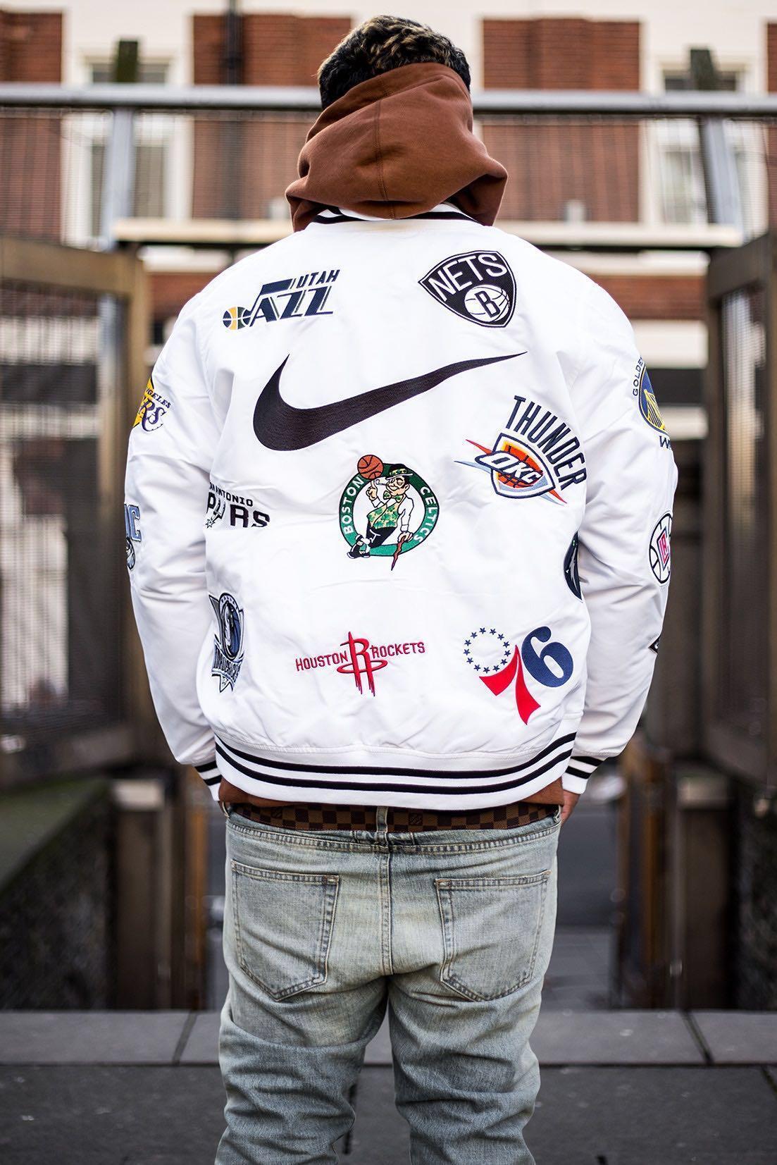 capacidad Estimar Bigote  Nike x Supreme x NBA Varsity White Jacket, Men's Fashion, Clothes on  Carousell