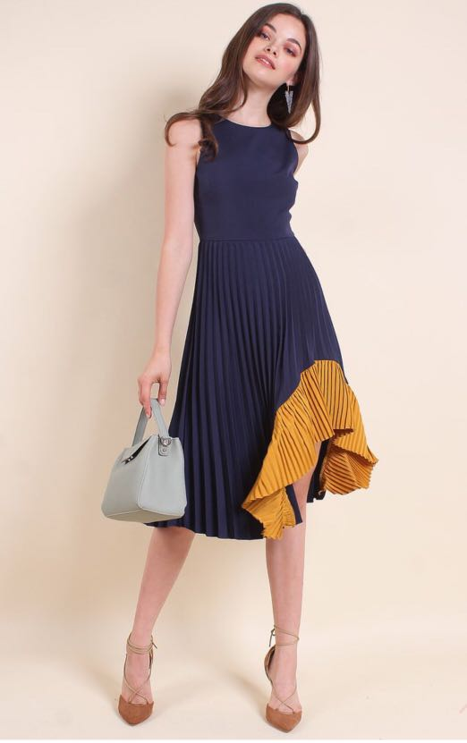 3a1fad4094 NM EXCLUSIVE ELODEA COLOURBLOCK UNEVEN PLEATED HEM MIDI DRESS IN NAVY  BLUE MUSTARD