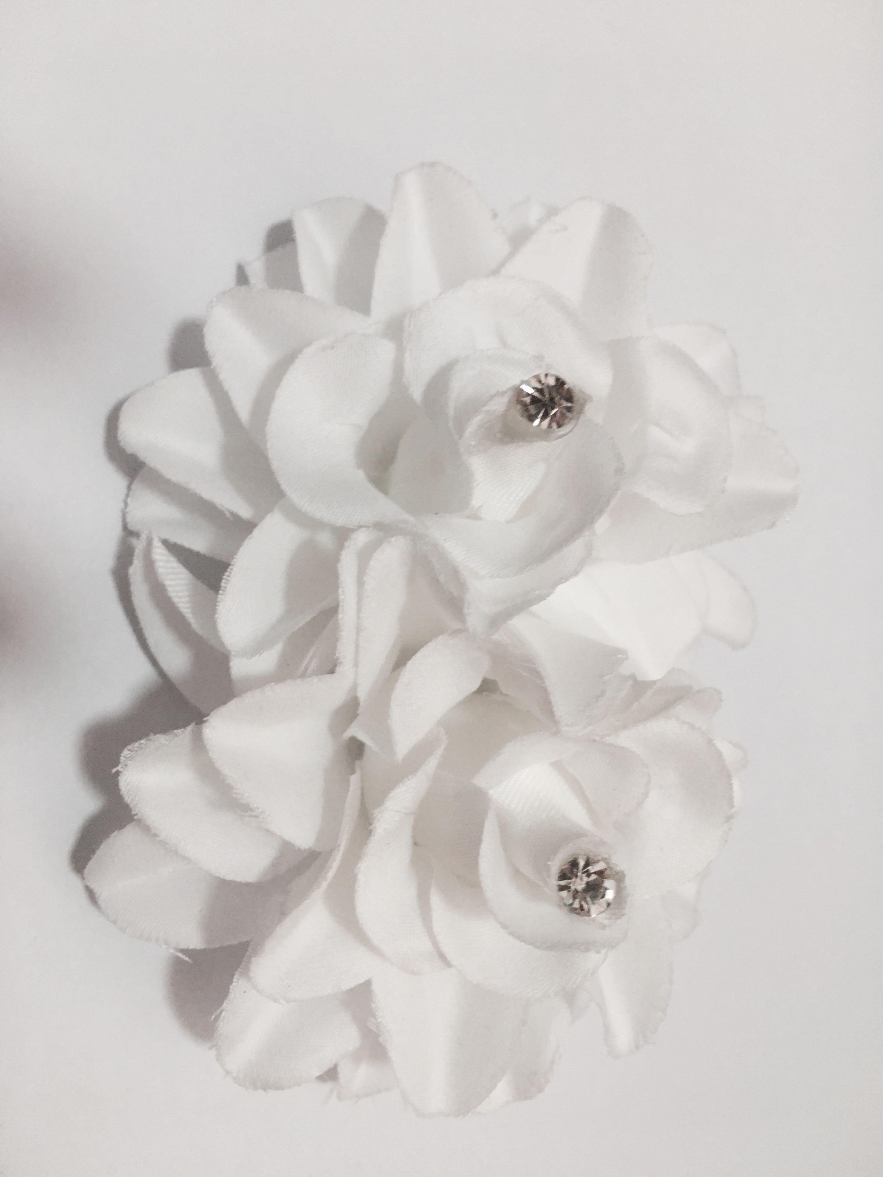 White Cloth Flower Hair Clip Womens Fashion Accessories On Carousell