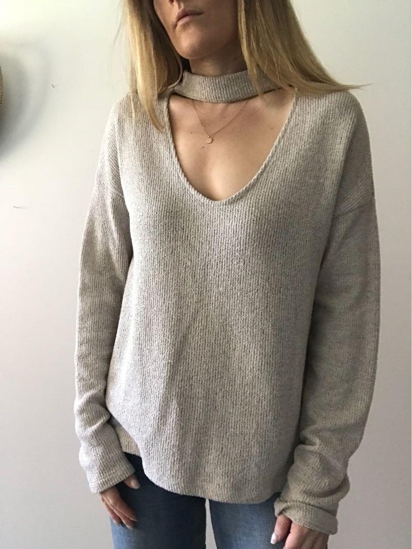 Zara cut out beige sweater