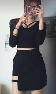 韓版黑色潮款上衣&裙