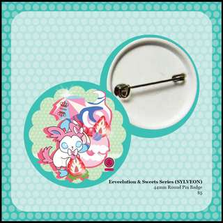 [INSTOCK] Pokemon Eeveelution & Sweets Round Pin Badges (SYLVEON)