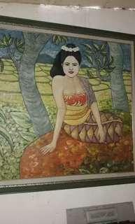 Lukisan Bali Lama uk 110 x 110 cm