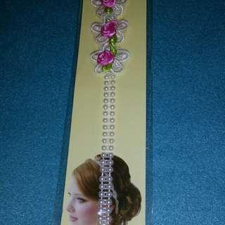 Pink Flower Rubber Headband