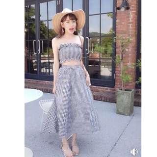 夏日格紋兩件式長裙套裝 image同款 清新格紋兩件式洋裝(衣+裙)