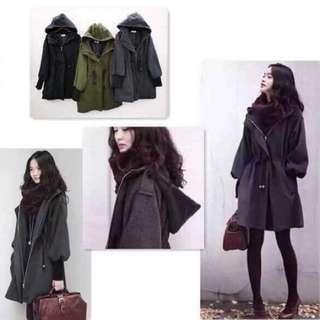🚚 韓國帶回 保暖腰抽繩連帽縮口外套
