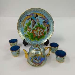 Fine Chinese Cloisonne teapot cups Ornamental Hand-painted miniature enamel light blue colour tea set