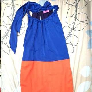 全新 正品 V_K VK 雙色拼接綁帶美背長版洋裝 長版罩衫 38號
