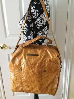 MATT & NAT Newspaper Crinkle Mustard Color Vegan Leather Large Weekender Handbag
