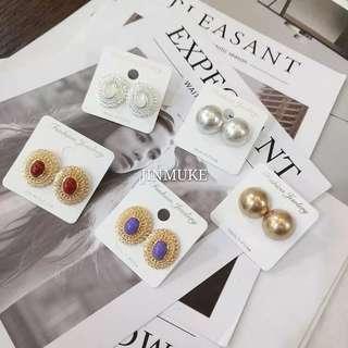 新款韓國進口東大門時尚復古宮廷小衆圓形氣質耳環
