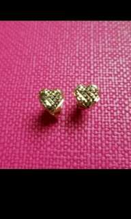 "14K585 Yellow Gold ""HappyHeart"" Earrings  14K585 黃金心形耳環"
