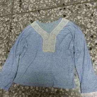 圖騰藍色薄上衣(可換物)
