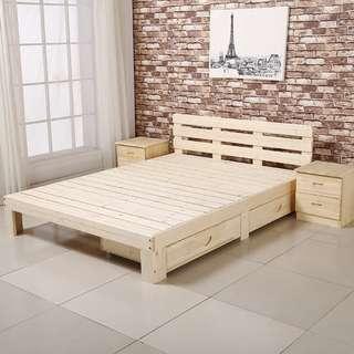 (包運費) 實木床架 有床頭板 單雙人床 可加抽屜 (需自己組裝)(約7-10天送到)