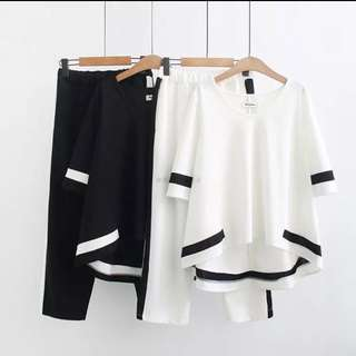 (2XL~5XL) Casual summer loose loose thin-sleeved T-shirt jacket seven feet pants two sets