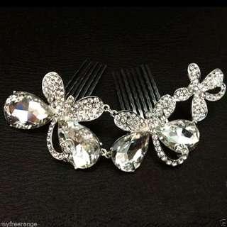 新娘閃石蝴蝶頭飾頭梳wedding party butterfly rhinestone comb