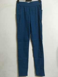 土耳其藍 彈性內搭褲 腰平量最大40cm